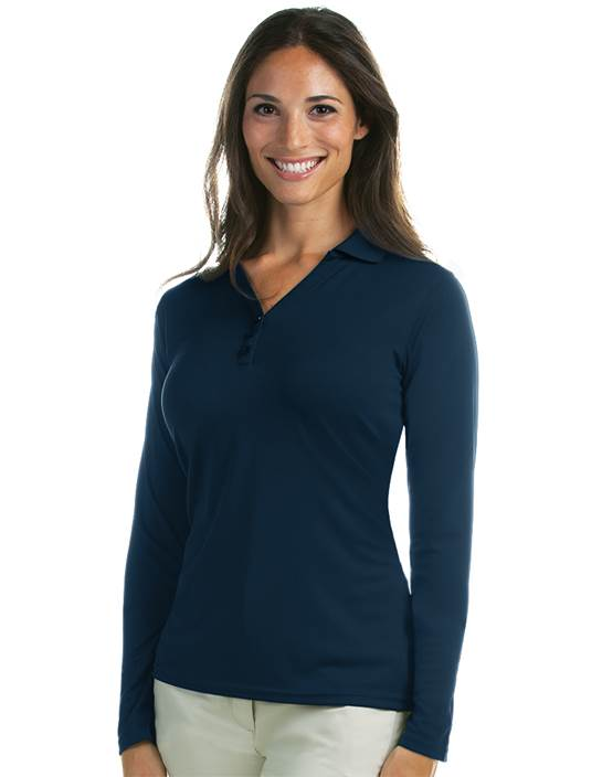 100206 - Women's L/S Exceed Navy (Womens Shirts Polo)