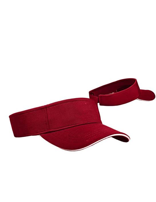 100820 - Bunker Visor Dark Red/White (Unisex Hats Adjustable)