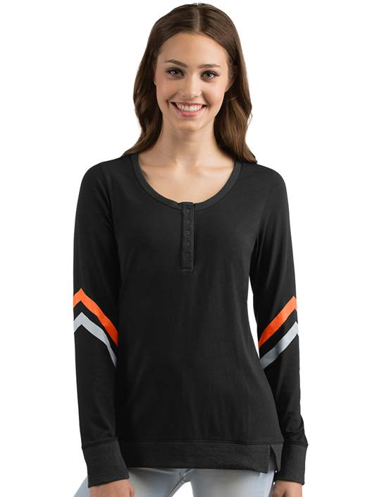 104126 - Women's Contend Black/Mango/Silver (Womens Shirts Tee)