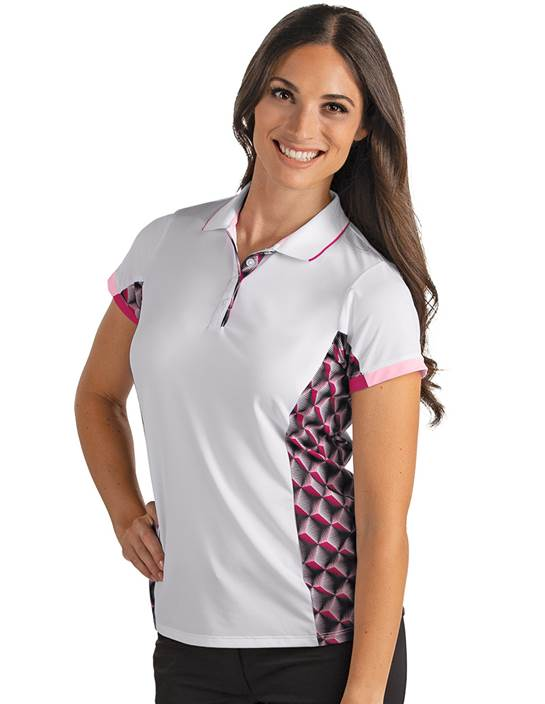 104150 - Women's Tiki White/Black Rosewood (Womens Shirts Polo)