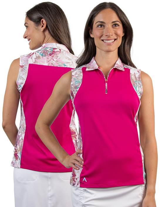 104153 - Women's Atlantis Radish/Sand Dollar Multi (Womens Shirts Polo)