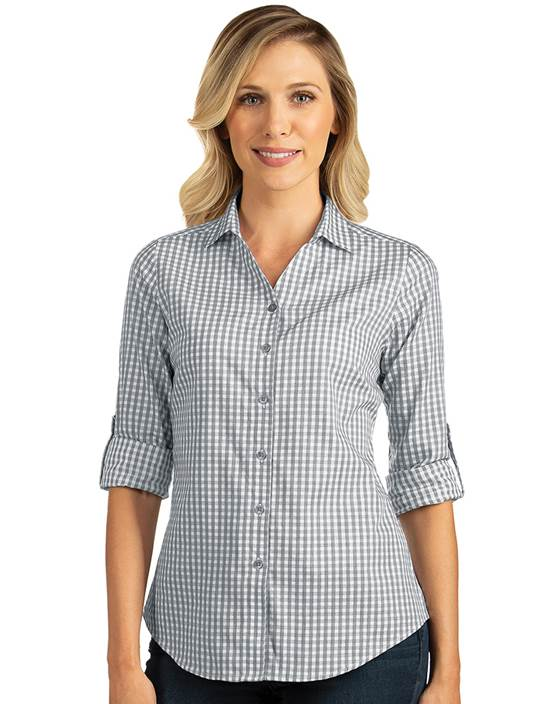 104266-102 - W's Structure Steel/White (Womens Shirts DressShirt)