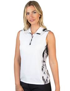 104303-226 - W's Olympia White/Black Multi (Womens Shirts Polo)