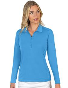 104354-344 - Tribute Long Sleeve Women's - NEW  Columbia Blue (Womens Shirts Polo)