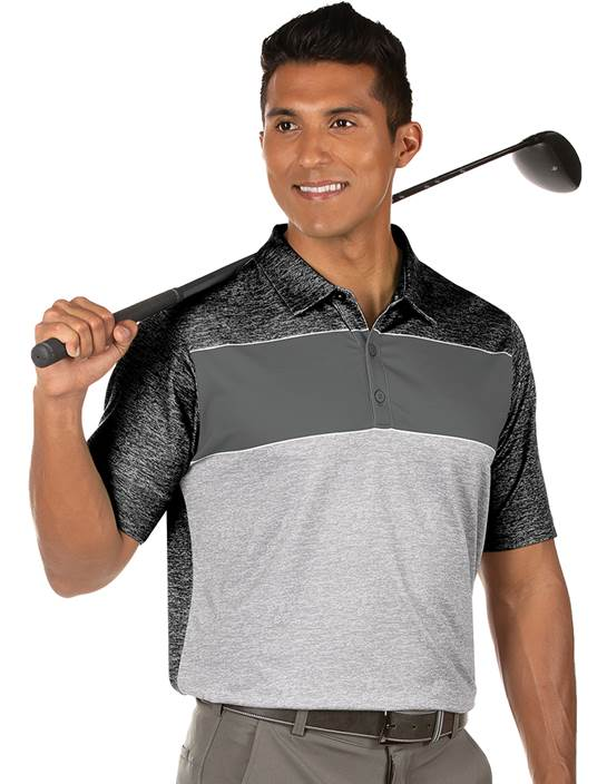 104383-10I - Advocate Black Heather/Stingray/Skyscraper Heather (Mens Shirts Polo)