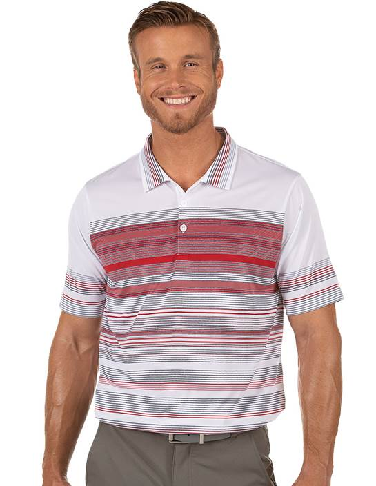 104392-93H - Hudson White/Blueprint/Dark Red (Mens Shirts Polo)